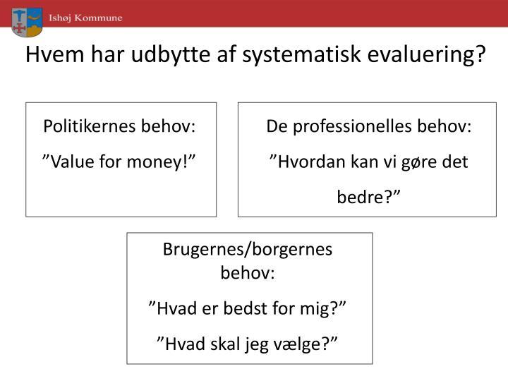 Hvem har udbytte af systematisk evaluering?