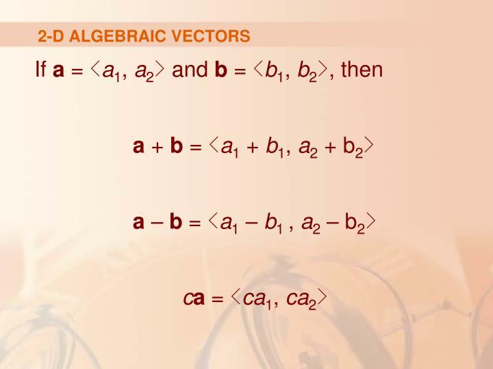 2-D ALGEBRAIC VECTORS