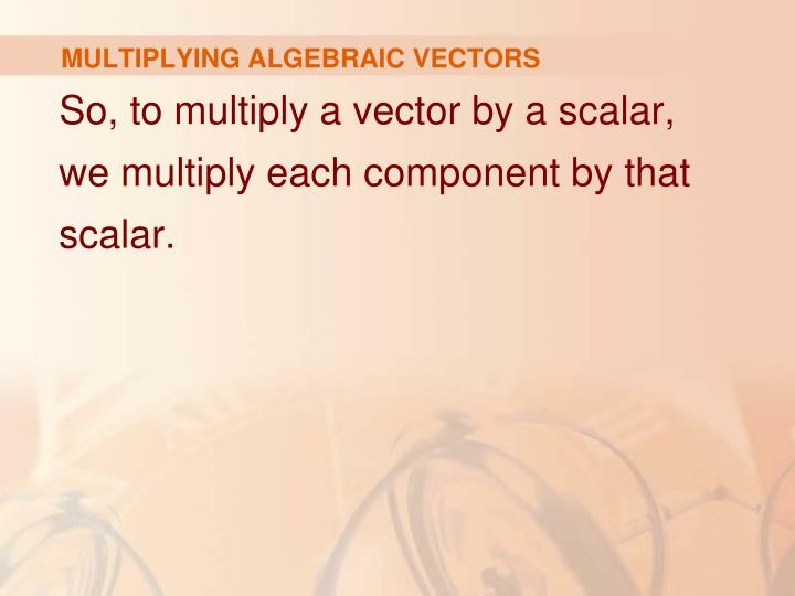 MULTIPLYING ALGEBRAIC VECTORS