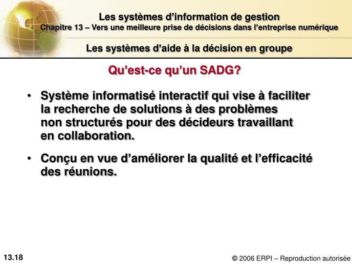 Les systèmes d'aide à la décision en groupe