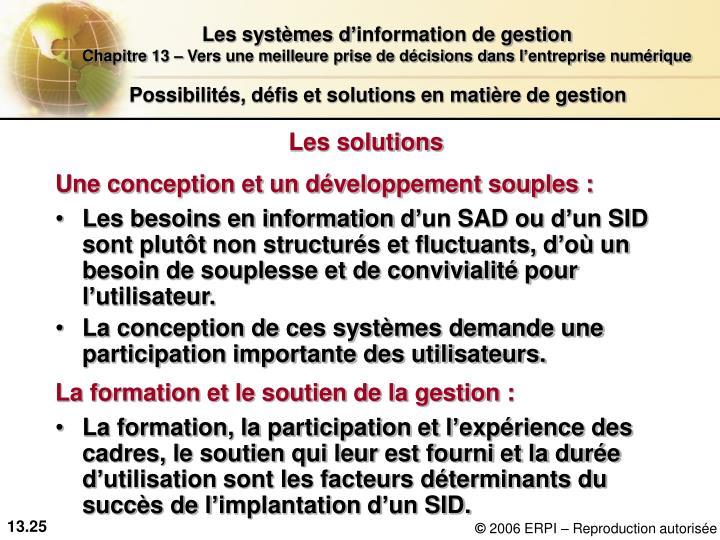Possibilités, défis et solutions en matière de gestion