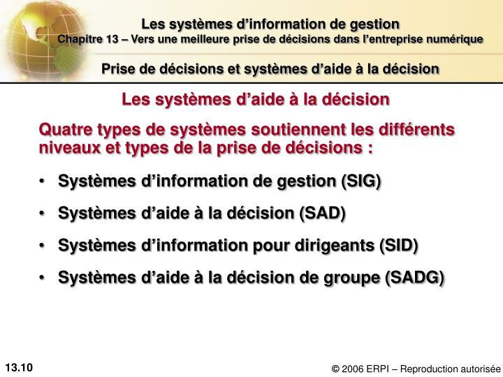 Prise de décisions et systèmes d'aide à la décision