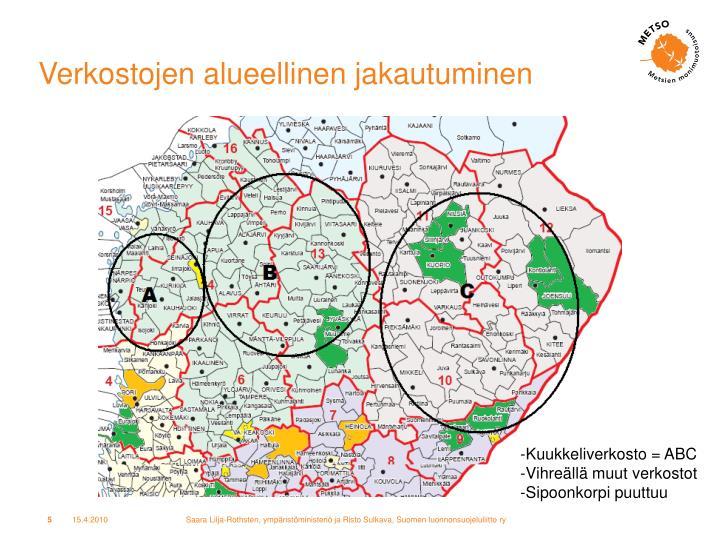 Verkostojen alueellinen jakautuminen