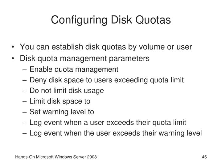 Configuring Disk Quotas
