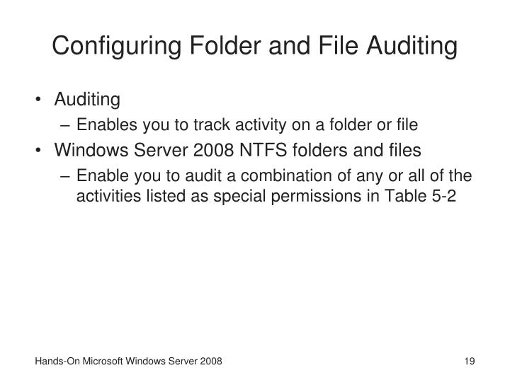 Configuring Folder and File Auditing