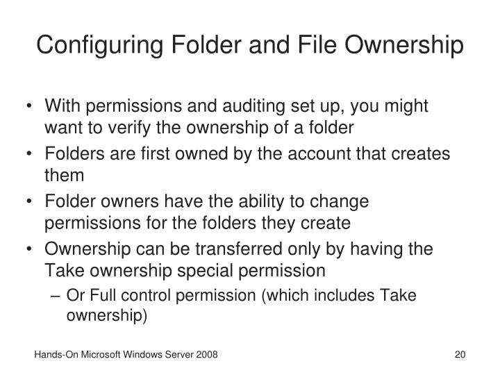 Configuring Folder and File Ownership