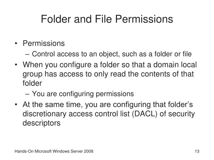 Folder and File Permissions