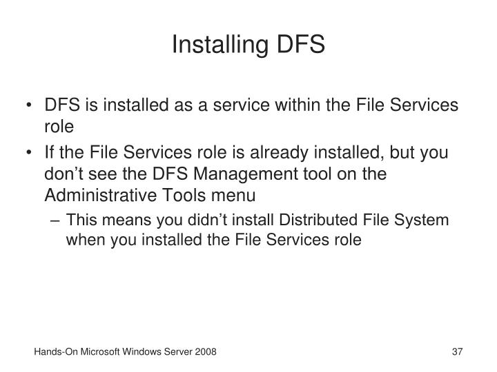 Installing DFS