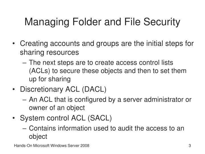 Managing folder and file security