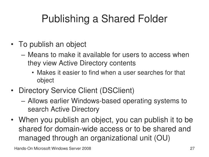 Publishing a Shared Folder
