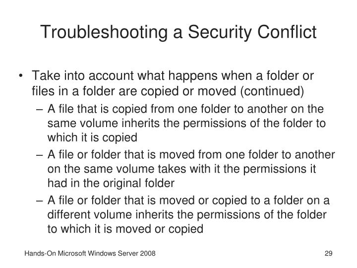 Troubleshooting a Security Conflict