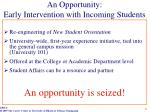an opportunity early intervention with incoming students