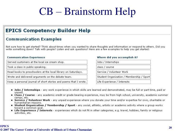 CB – Brainstorm Help