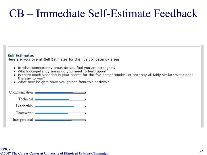 CB – Immediate Self-Estimate Feedback