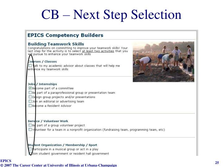 CB – Next Step Selection