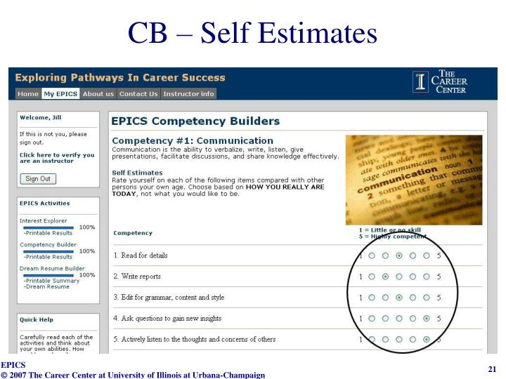 CB – Self Estimates