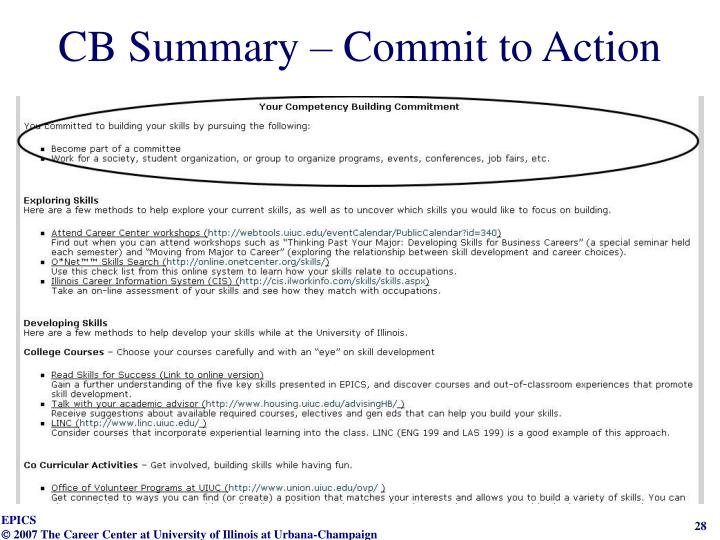 CB Summary – Commit to Action