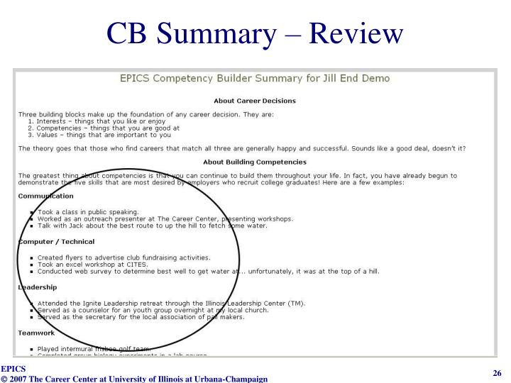 CB Summary – Review