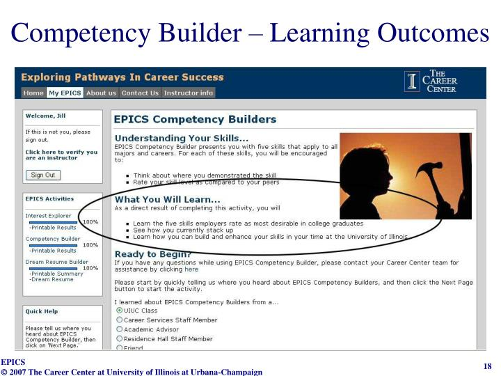 Competency Builder – Learning Outcomes
