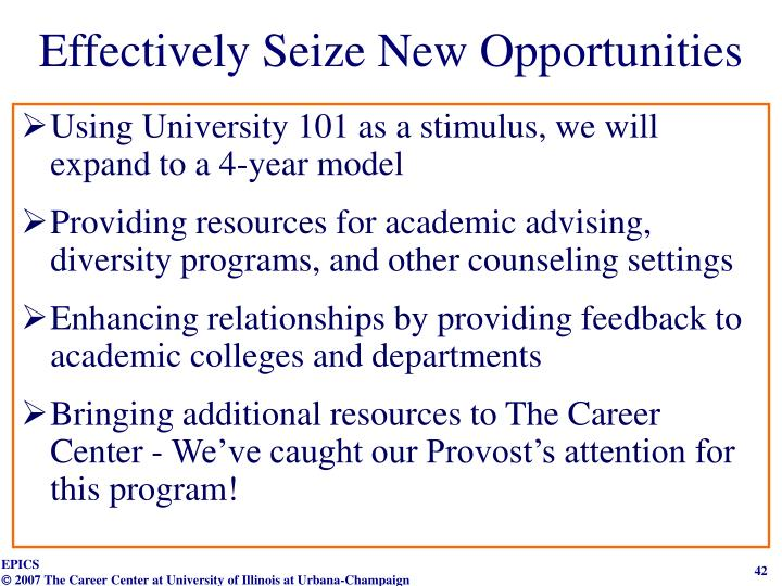 Effectively Seize New Opportunities