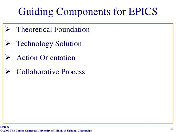 Guiding Components for EPICS