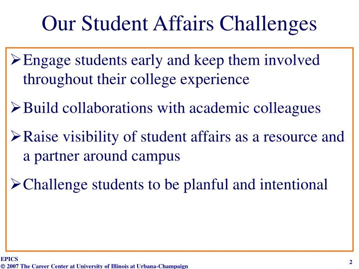 Our student affairs challenges