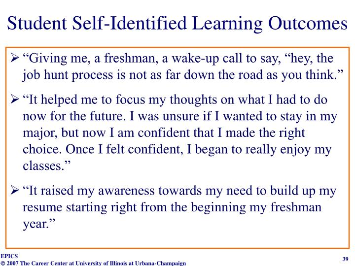 Student Self-Identified Learning Outcomes