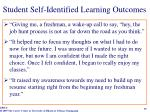 student self identified learning outcomes