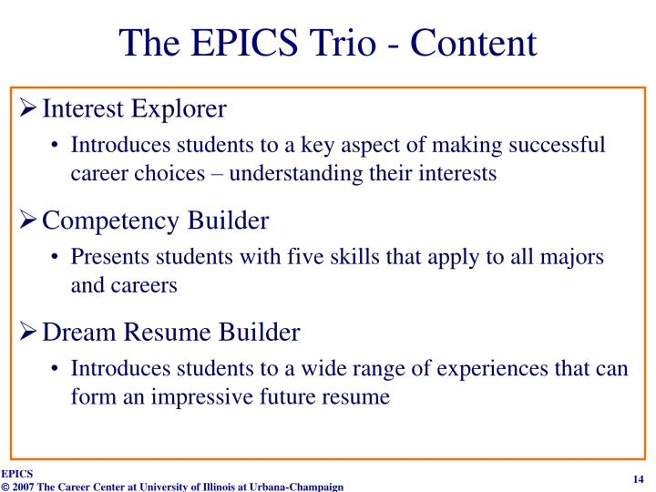 The EPICS Trio - Content