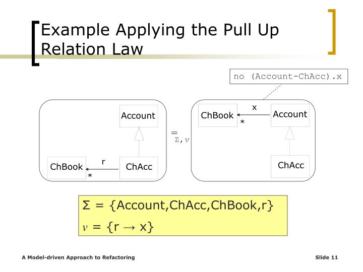 Example Applying the Pull Up Relation Law