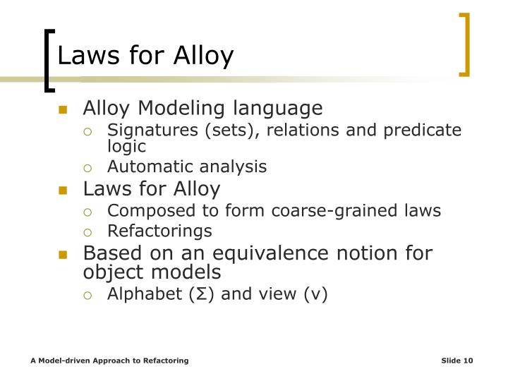 Laws for Alloy