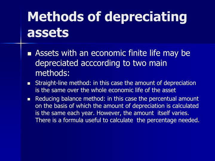Methods of depreciating assets