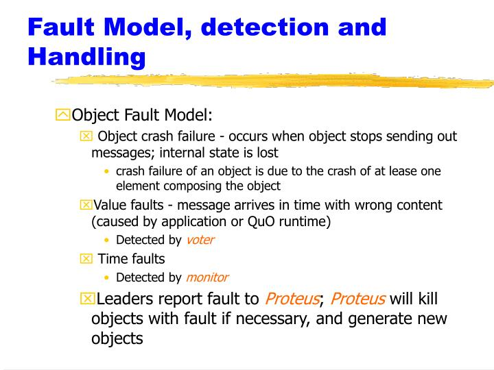Fault Model, detection and Handling