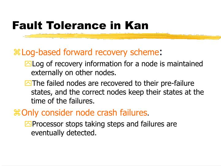 Fault Tolerance in Kan