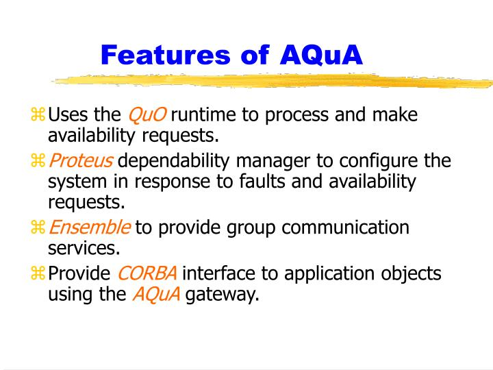 Features of AQuA