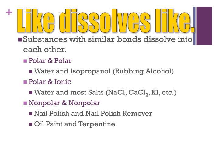 Like dissolves like.