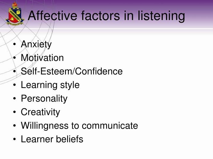 Affective factors in listening