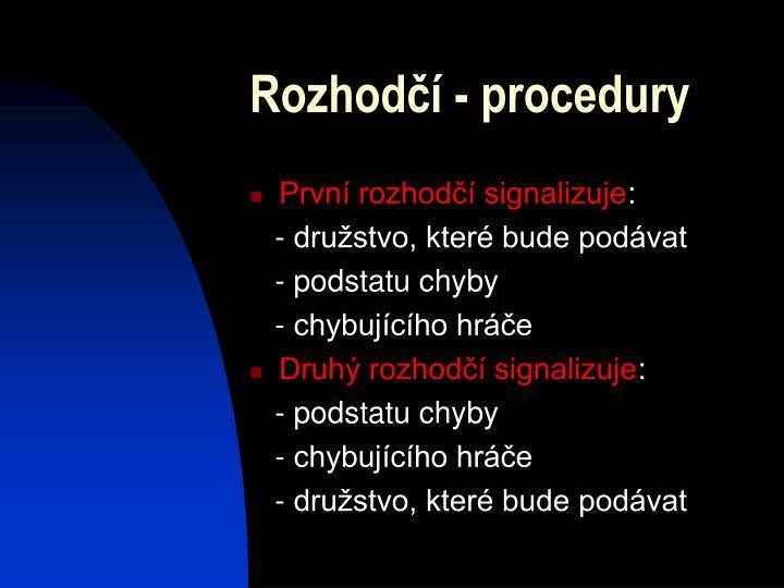 Rozhodčí - procedury