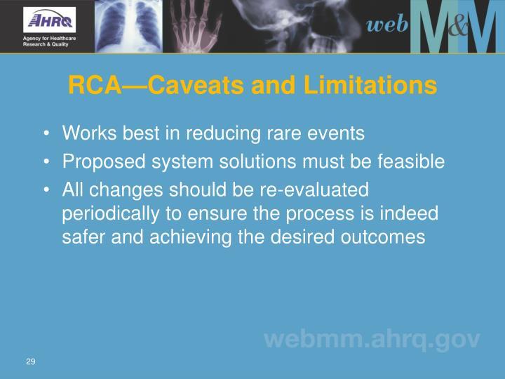 RCA—Caveats and Limitations