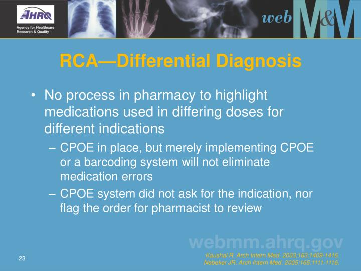 RCA—Differential Diagnosis