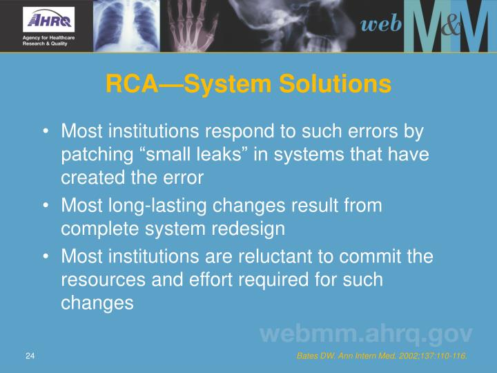 RCA—System Solutions