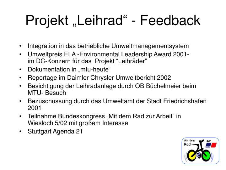 "Projekt ""Leihrad"" - Feedback"