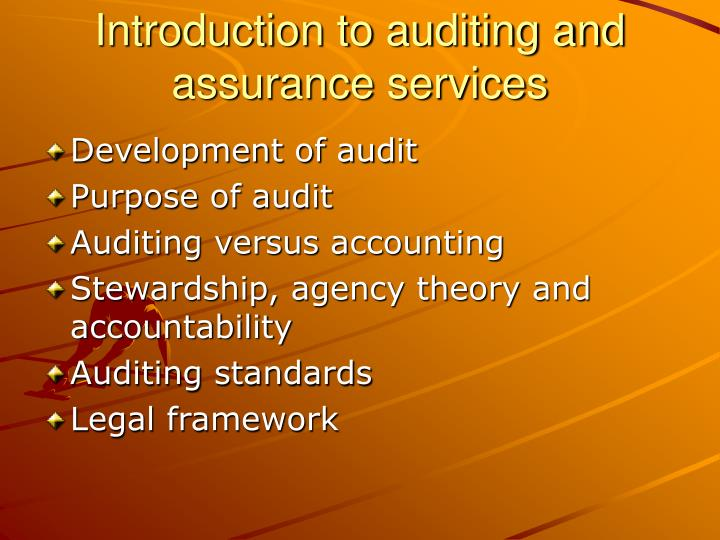 Introduction to auditing and assurance services