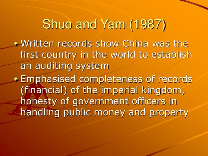 Shuo and Yam (1987)