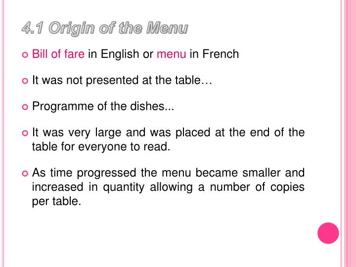 4.1 Origin of the Menu