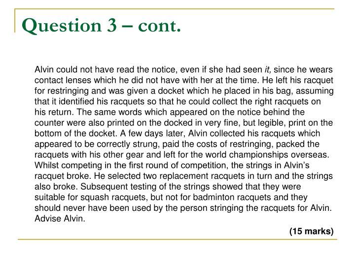 Question 3 – cont.