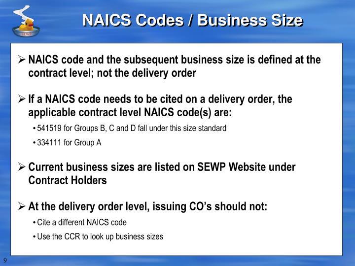 NAICS Codes / Business Size