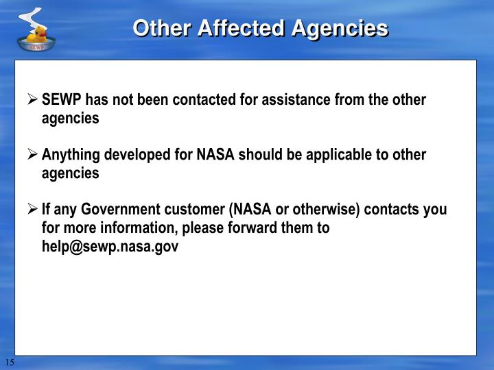 Other Affected Agencies