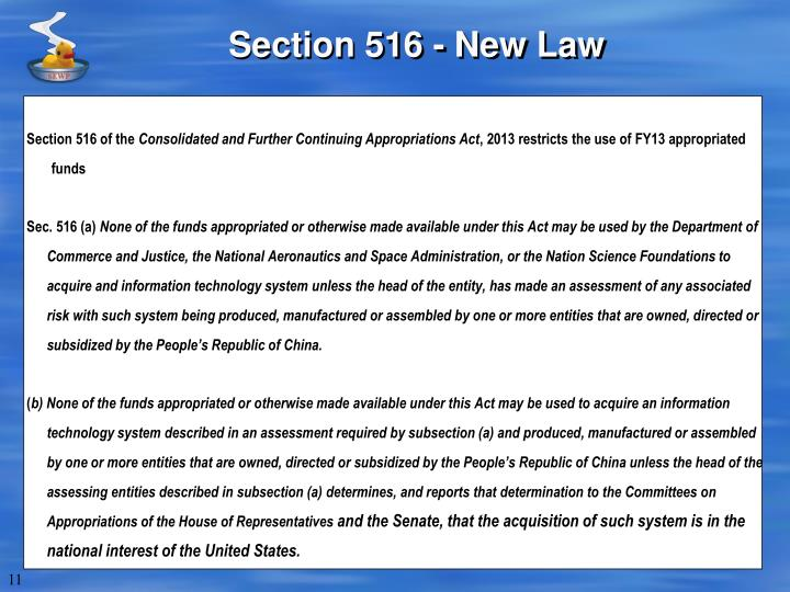 Section 516 - New Law