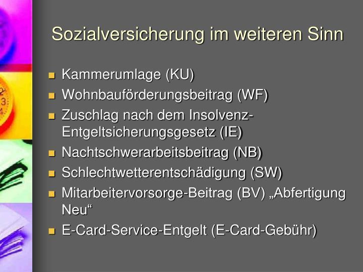 Sozialversicherung im weiteren Sinn